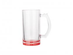 16oz Sublimation Clear Glass Beer Mug (Red Bottom)