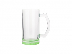 16oz Sublimation Clear Glass Beer Mug (Green Bottom)