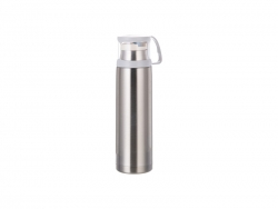 17oz/500ml Stainless Steel Flask w/ Clear Cup Cap (Silver) MOQ:2000