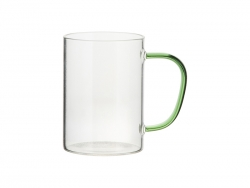12oz/360ml Glass Mug w/ Light Green Handle (Clear)