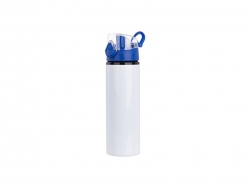 750ml Alu water bottle with Blue cap (White) MOQ: 2000